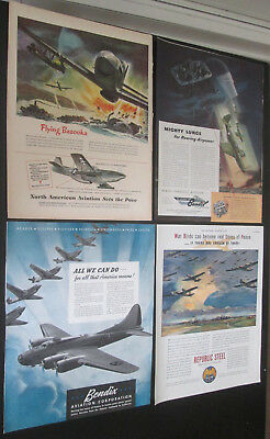 Lot of 16 original ads 1941 to 1944 various products all art Military Planes