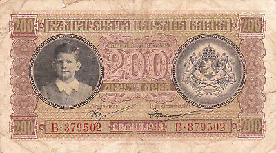 200 Leva Vg Banknote From German Occupied Bulgaria 1943!pick-64