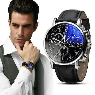NEW 2017 Men's Date Leather Stainless Steel Military Sport Quartz Wrist Watch