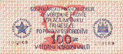 100 Lit Banknote Aunc Note From Slovenia 1944!partizan Army Issued!pick-S105
