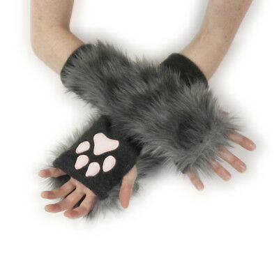 PAWSTAR Paw Arm Warmers - Furry Fingerless Gloves Costume wolf Gray [CLAGY]3101