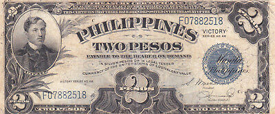 2 Pesos Fine  Banknote From Philippines 1946!pick-95!!