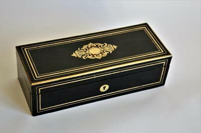 FINE ANTIQUE FRENCH BOULLE INLAY EBONY & BRASS GLOVES JEWELLERY BOX circa 1870s