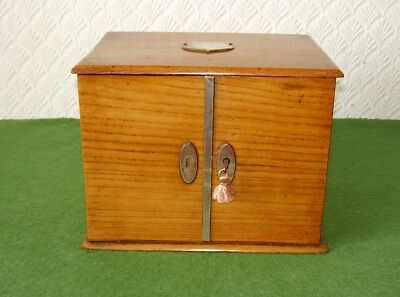 ANTIQUE BOX SUPERB SOLID OAK 2 DRAW TABLE TOP 2 DOOR CABINET VICTORIAN circ 1890