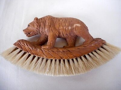 Antique Black Forest Carved Wooden Bear Hat Brush - Good Condition