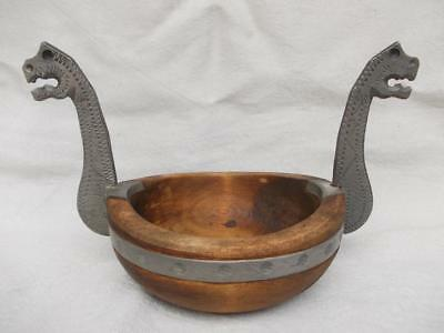 622 / Excellent Vintage Norwegian Hand Turned Wooden Bowl With Pewter Handles