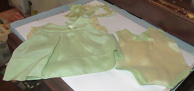 """Old 3 Pc Nancy Arranbee 13"""" Doll Lt Green Dress Body Suit Bow Crepe Outfit Lot"""