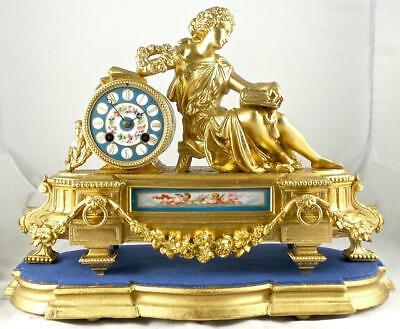 Antique French 19thc Mantle Clock With Beautiful Sevres Porcelain By Japy Freres
