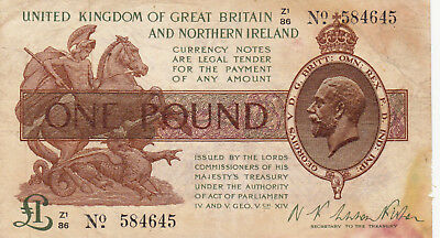 1 Pound Fine Banknote From Great Britain 1917 !pick-351!rare!