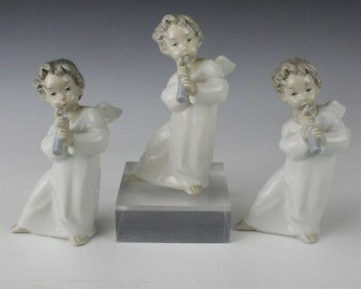 Lot Of 3 Retired LLADRO Spain Angel With Flute 4540 Porcelain Figurine NR BMF