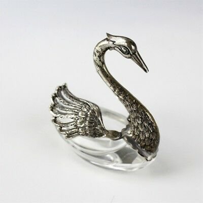 Pierced Sterling Silver 925 Crystal Cut Glass Swan Bird Table Salt Cellar Dip NR