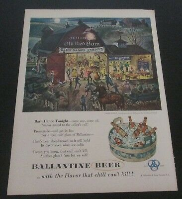 1953 original ad Ballantine Beer People Attending Barn Dance