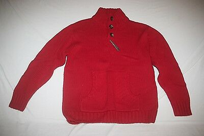 Old Navy Sweater Mock Button Neck Youth S 6 7 NEW Red NWT