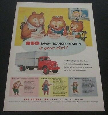 1953 original ad REO Trucks cute art Goldilocks & Three Bears