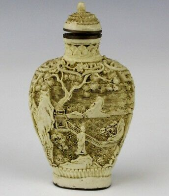 Chinese Export Carved White Cinnabar Figural Landscape Brass Mount Snuff Bottle