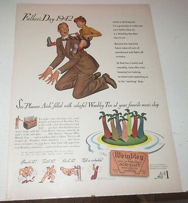 1942 original ad Wembley Mens Ties Boy Gets Horseback Ride from Dad Father's Day