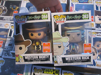 Funko Pop Rick And Morty Western Set Complete 363 & 364 Lot San Diego Sdcc 2018