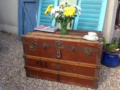Large Vintage Travel Trunk Coffee Table 1920's Toy Box Blanket Box Rustic Chic