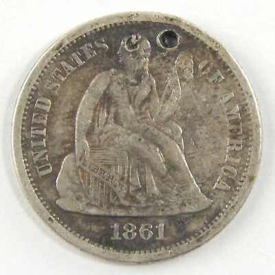 1861-S 10c Seated Liberty Silver Dime Fine Details - Holed Key Date Coin A6076