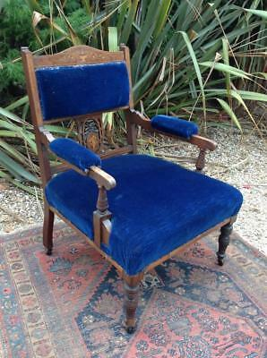 Antique Armchair Rosewood & Inlaid Blue Velvet Edwardian Fireside Rustic Chic
