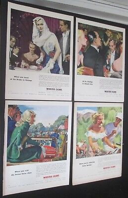 Lot of 8 original ads 1943 to 1947 Webster Cigars Couples Enjoying Social Events