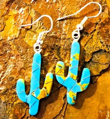 Native American high quality hand Blue TurquoiseAZ Cactus  Earrings with Genuine