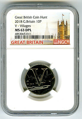 2018 10P Great Britain ' V '- Villages Ngc Ms63 Dpl British Coin Hunt Proof Like