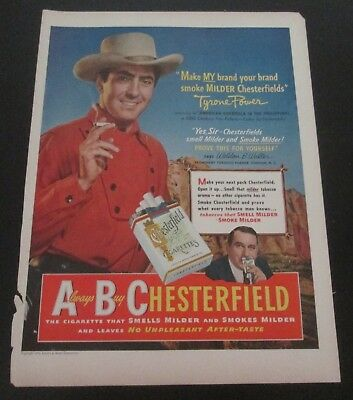 1950 original ad Chesterfield Cigarettes Actor Tyrone Power