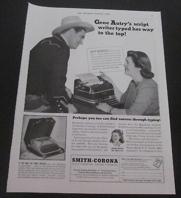 1941 original ad Smith Corona Typewriters Western Singer Actor Gene Autry