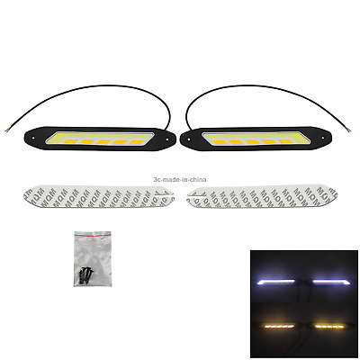 1x White&Yellow Pair Car DRL Driving Light Flexible With Turn Signal 1 COB LED Z