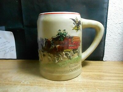 Budweiser Beer 1980 Christmas Holiday Mug Stein Clydesdale Cs 19 1St In Series
