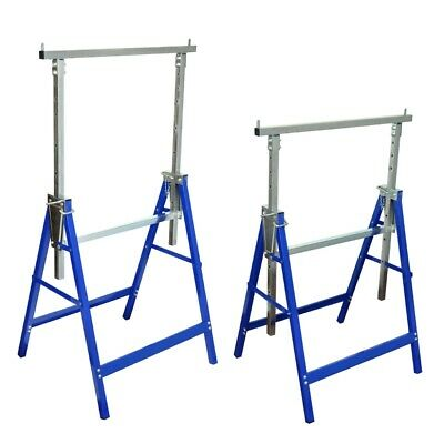 2 x Adjustable Trestle Work Stands Carpentry Handyman Scaffold Saw Horse Bench