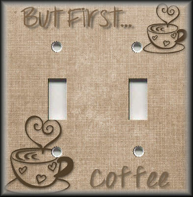 Metal Light Switch Plate Cover - But First Coffee Decor Kitchen Decor Design 04