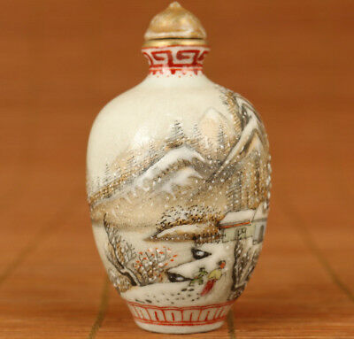 Rare Chinese Old jingdezhen Porcelain Hand painting snowscape snuff bottle