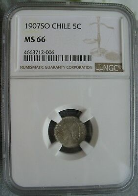 1907 SO Chile 5 Centavos  NGC MS-66