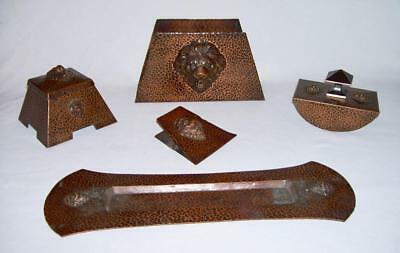 Antique Arts & Crafts Hammered Quality Solid Copper 5-Pc DESK SET w/LION HEADS
