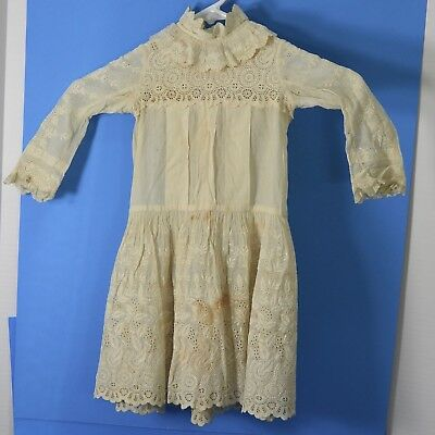 Antique Edwardian Early 1900s Girls Embroidered Lawn Dress Lace Trimmed