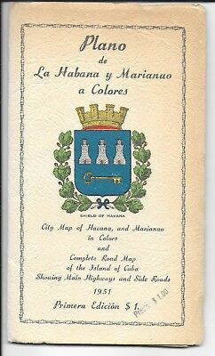 "1951 Fold Open City and Street Map of Havana & Marianao Cuba 25"" x 35"""