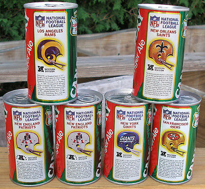 6-pack 1970s Canada Dry Ginger Ale NFL football helmet logo soda cans 5 dif