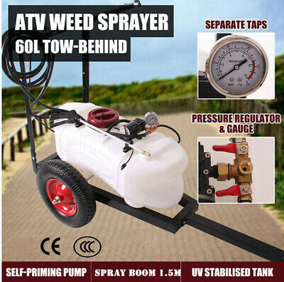 NEW 60L ATV WEED SPRAYER 1.5M Boom Trailer SPOT BOOM SPRAY TANKS Garden Farm