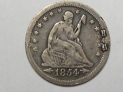 1854 US Seated Liberty Quarter (Love Token).  #35
