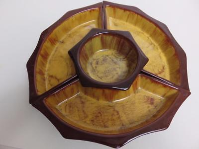 BMP Blue Mountain Pottery 4 pc Harvest Gold lazy Susan set no rotating  base