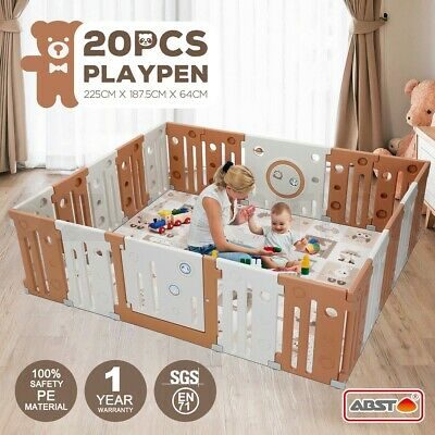 ABST 20 Sided Panel Baby Playpen Interactive Kids Toddler Safety Gates with Lock