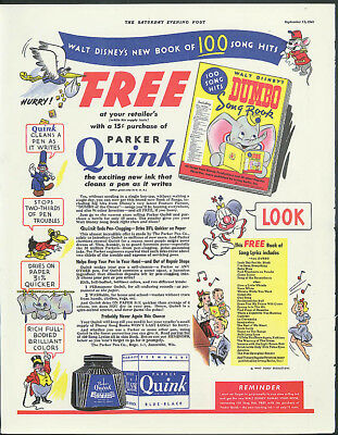 Parker Quink Ink Walt Disney's Dumbo Song Book / GMC Army Truck ad 1941