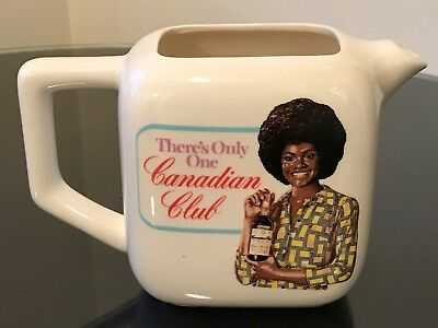 Vintage Canadian Club Whisky Water Pitcher Black Americana  1970's Mod Funky