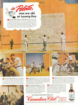 In Pelota men are old at twenty-five Canadian Club Whisky ad 1948 Jai-Alai