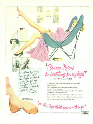 Cannon Nylons do something for my legs! On the legs on the go ad 1951 LIFE