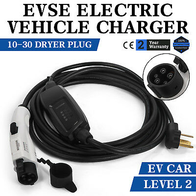 Electric Car Charger 10-30 Plug Level 2 Charger 23' Long EV Vehicle Charger