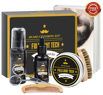 6 in 1 Beard Grooming Kit Great Gift Set w/ Shampoo Balm Oil Brush Comb Scissors