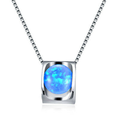 White Gold Filled Round Cut Blue Fire Opal Square Pendant Necklace Women Jewelry